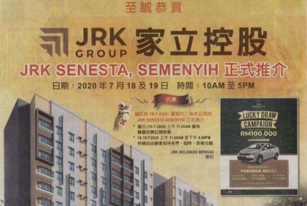 JRK Senesta Semenyih Launch Congratulatory Ads