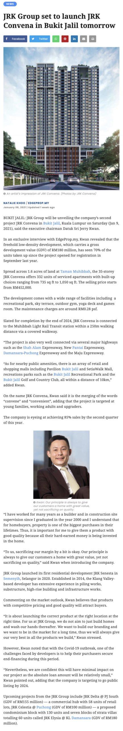 JRK Group set to launch JRK Convena in Bukit Jalil tomorrow